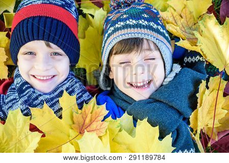 Golden Autumn Group Of Children