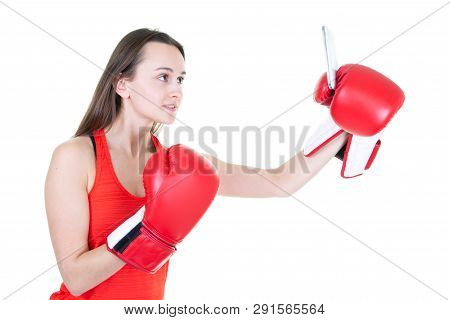Young Boxing Woman With Phone