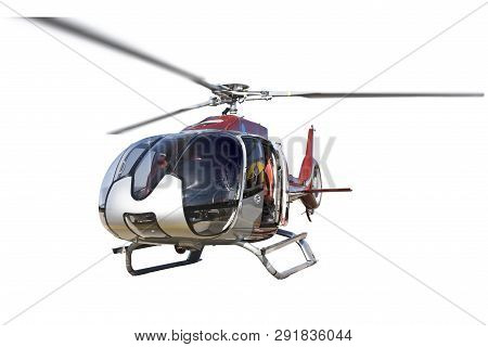 Helicopter Standing Isolated On White