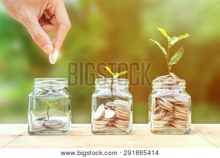 poster of Money Savings, Investment, Making Money For Future, Financial Wealth Management Concept. A Man Hand