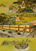 The old traditional buddhist painting on wall in temple at Seoraksan in South Korea