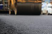 Road Construction Asphalt Road By Worker And Roller Machine. Asphalt Road Background poster