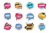 Comic Pop Art Bubbles. Cartoon Text Balloon Wow Explosion Sticker Fun Speech Bubble Comics Retro Clo poster