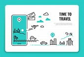 Tourism Line Concept. Travel Destination Summer Vacation Traveling Agency Hotel Website Airplane Rou poster