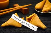 Paper Strip With Phrase Today Is Your Lucky Day From Fortune Cookie, Another Cookie And Chopsticks O poster