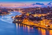 Beautiful Evening Cityscape Of Porto (oporto), Portugal poster
