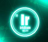 Iridium Chemical Element. Sign With Atomic Number And Atomic Weight. Chemical Element Of Periodic Ta poster