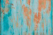 Old Grunge Rusty Metal Metallic Colored Background. Colorful Blue And Orange Abstract Metallic Surfa poster