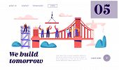 Builder Construct Brick Bridge With Construction Crane And Hammer Landing Page. Architect Worker Bui poster