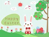 Cute Rabbit Girl And Text Happy Easter. Beautiful Easter Eggs On Green Grass With Tree, Blue Sky Bac poster