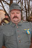 KIEV, UKRAINE - FEBRUARY 2, 2008. A member of the military history  club, Red Star, wears a historic