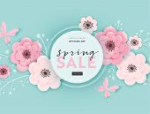 Spring Sale Banner Background With Paper Cut Flowers And Floral Elements. Spring Discount Voucher Te poster