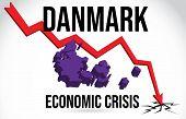 Danmark Map Financial Crisis Economic Collapse Market Crash Global Meltdown Vector Illustration. poster
