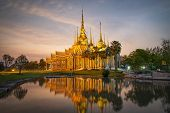 Beautiful Temple Thailand Dramatic Colorful Sky Twilight Sunset Shadow On Water Reflection - Landmar poster
