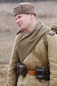 picture of vinnitsa  - Person in historical Soviet uniform as he participates in a WWII reenactment in Vinnitsa - JPG