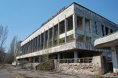 Chernobyl area. Lost city Pripyat. Modern ruins. Ukraine. Kiev region