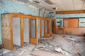 Chernobyl area. Lost city Pripyat. Modern ruins. Post-office. Phone-boxes.Ukraine. Kiev region.