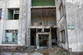 CHERNOBYL, UKRAINE - APRIL 25 : Remains of Bank of USSR in the lost city of Pripyat April 25, 2009 in Chernobyl, Ukraine.