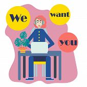 We Want You For Concept Design. Employer Concept. Wanted Poster Background. Cute Employer. Vector Ba poster