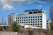 Chernobyl area. Lost city Pripyat. Hotel Polesie (Woodland). Modern ruins. Ukraine. Kiev region.