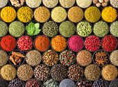 Bright Spice Background, Top View. Collection  Seasoning And Herbs Of Indian Food. Spices And Herbs  poster