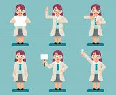 Female Wise Smart Scientist Chemical Test Tubes Experiment Woman Cartoon Flat Design Character Icons poster
