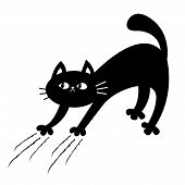 Cat Arch Back. Kitten Scratching. Scratch Track. Doodle Sketch. Black Contour Silhouette. Cute Funny poster