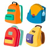 Schoolbag Set . Closed Backpacks Side View. Colored School Modern Backpacks. Isolated Flat Cartoon I poster