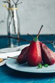 Simple Paleo Style Dessert Pear Poached In Red Wine poster