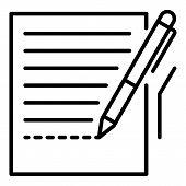 Pen Homework Paper Icon. Outline Pen Homework Paper Icon For Web Design Isolated On White Background poster