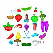 Low Calorie Icons Set. Cartoon Set Of 25 Low Calorie Icons For Web Isolated On White Background poster