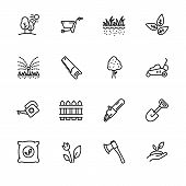 Icon Set Gardening, Agriculture And Horticulture. Contains Such Symbols Gardening Tools For Growing  poster