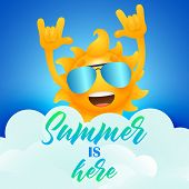 Summer Is Here Lettering And Cheerful Sun Cartoon Character. Tourism, Summer Offer Or Sale Design. H poster