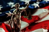 Law And Justice In United States Of America, Statue Of Lady Justice With Usa Flag In Background, Sel poster