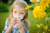 Cute Little Girl Blowing Her Nose By Beautiful Yellow Coneflowers On Summer Day. Allergy And Asthma  poster