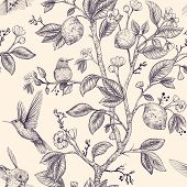 Vector Sketch Pattern With Birds And Flowers. Hummingbirds And Flowers, Retro Style, Nature Backdrop poster