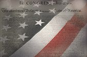 foto of preamble  - United States Declaration of Independence with USA Flag as background for Clip - JPG