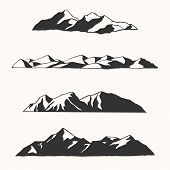 Hand Drawn Mountains - Vector Illustrations Of Hand Drawn Mountains And Mountain Ranges poster