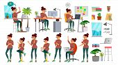 Business Woman Character Set . Working People Set. Office, Creative Studio. Female Business Situatio poster