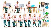 Office Worker . Face Emotions, Various Gestures. Creation Set. Adult Entrepreneur Business Man. Happ poster