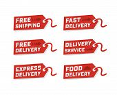 Free Delivery, Free Shipping Labels. Illustration Of Shipments And Free Delivery. Delivery Labels. V poster