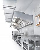 Industrial Kitchen. Restaurant Kitchen On A White Backgrount. 3d Illustration poster
