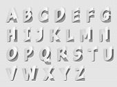 Illustration Paper Cut Typography Design. Set Vector Illustration. Grey Alphabet Letters Cut Out Fro poster