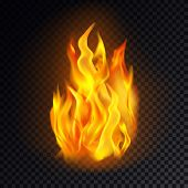 Realistic Fire Isolated On Transparent Background. Flame Icon Or Burn Emoji, Heat Or Hot Emoticon, B poster