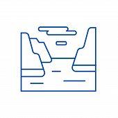 Fjord  Line Icon Concept. Fjord  Flat  Vector Symbol, Sign, Outline Illustration. poster