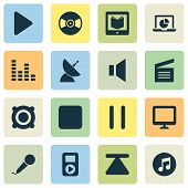 Multimedia Icons Set With Audio, Karaoke, Quarter And Other Equalizer Elements. Isolated Vector Illu poster