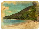 Indian Ocean Landscape, Seychelles. Old Postcard.