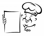 foto of chinese menu  - Chinese chef with blank menu paper for asian restaurant design - JPG