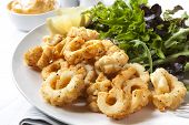 Salt and pepper squid with a fresh green salad.