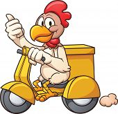 Cartoon chicken on a delivery scooter. Vector clip art illustration with simple gradients. All in a